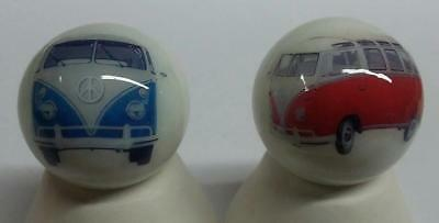 Charming Set of 2 Volkswagen Bus Glass Marbles