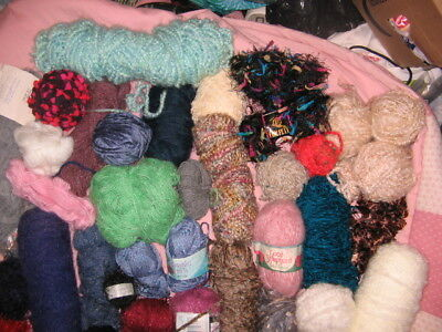 Large Lot Of Mixed Yarn , Some Fancy, Most New, Some Used, 7 Pounds