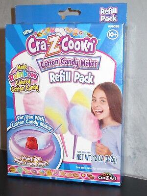 Cra-Z-Cookn' Cotton Candy Maker Refill Pack .3 packs of bright colored sugar