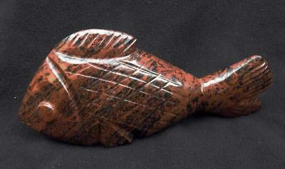 "[4] Carved Stone Mahogany Obsidian 6"" Brown Fish"