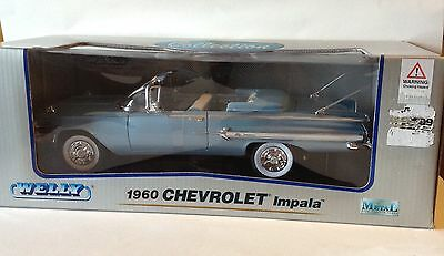 Welly 1960 Chevrolet Impala Convertible Sky Blue Die Cast 1:18