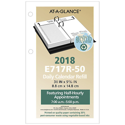 "AT-A-GLANCE Daily Desk Calendar Refill, January 2018 - December 2018, 3-1/2""x6"""