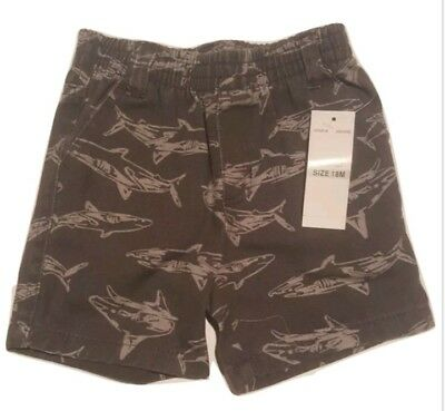 NWT Baby Boy Kids Size 18 Months Headquarters Grey Shorts with Shark Design.