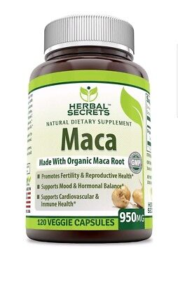 Herbal Secrets Organic Maca 950mg - 120 VCAPS - Factory Sealed - Exp 7/2020