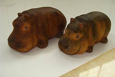 G. DeBrekht Noah's Ark Pair of Hippos figures Wood-Based Resin 2 pc  #52722