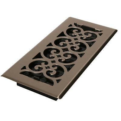 4 x 10 Floor Register Cover Vent Grate Replacement Grill Decor Scroll Damper Box