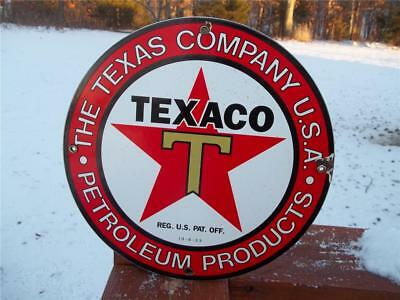Texaco The Texas Company Porcelain Sign Gas Station Pump Plate Reg 10-6-33 Petro