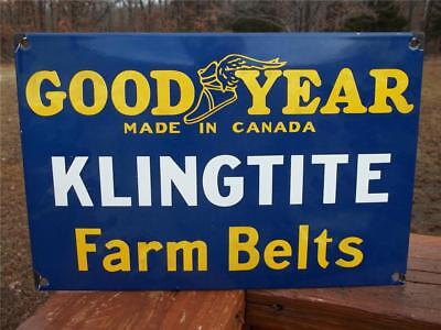 Heavy Porcelain Sign Goodyear Klingtite Farm Belts Made In Canada Store Sign