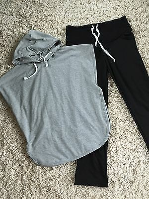 Gray Cape Cover Up Black Pants Tracksuit Sweat Set Maternity Sz S Fall Winter