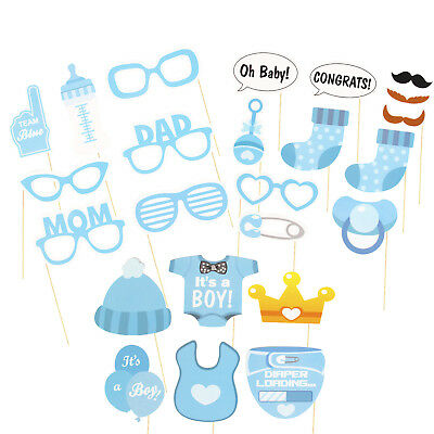 25PCS Baby Shower Fun Photo Booth Props Little Boy New Born Party Accessories
