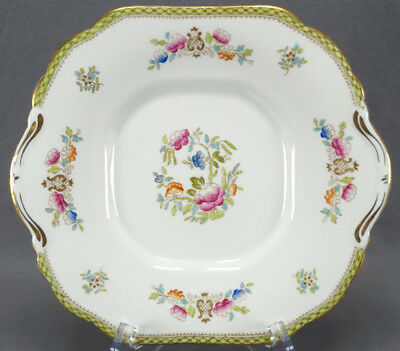 Hammersley 912 Lyre & Hand Colored Floral Cake Plate Circa 1912 - 1932