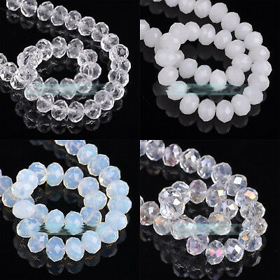 White Rondelle Faceted Crystal Glass Loose Spacer Beads 4MM/6MM/8MM/10MM Finding