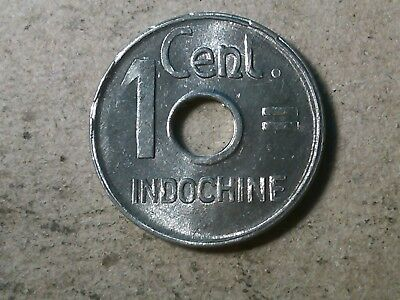 French Indochina 1 centime cent 1943 holed coin