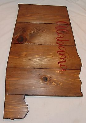 Alabama Large Wood Plaque State Barn Board Wall Hanging Decor Reclaimed Rustic