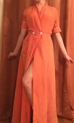 Vintage Gorgeous 1940S Peach Robe Short Sleeve Women's Size S/M