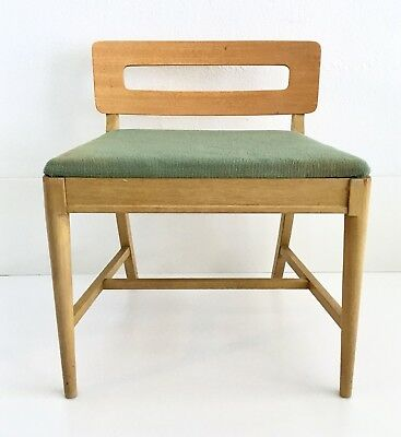 Vintage Mid Century Danish Modern Lounge Sewing Accent Chair Blonde Wood