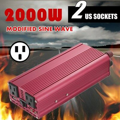 Foval 2000W DC 12V-AC 110V Car Vehicle Power Inverter Charger Converter USB NP