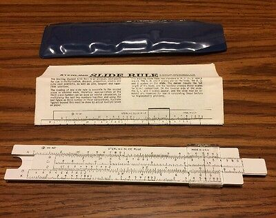 Sterling Pocket Slide Rule No. 587 HDW Houdaille w/sleeve operating instructions