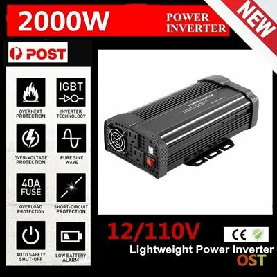 4000W Max 2000W Power Inverter Sine Wave DC 12V to AC 110V Power Display NP