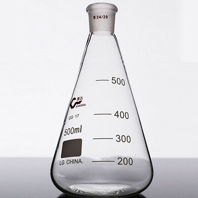 500ml,Glass Erlenmeyer Flask,Groud Joints 24/29,Laboratory Triangle flasks