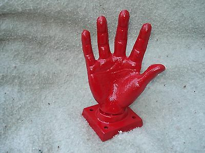 CAST IRON RED FINISH HAND DOORSTOP RING HOLDER PAPER WEIGHT  6.25'' x 4.25''