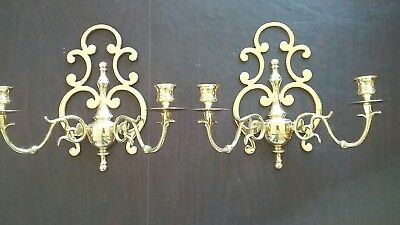 Gorgeous Vintage Pair Waii Sconces Solid Brass