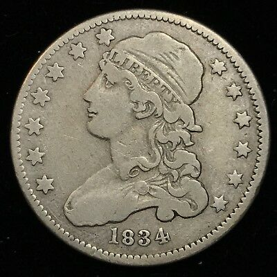1834 Capped Bust Quarter 25 Cents - Nice Coin, Free Shipping.