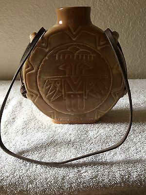 Vintage Indian Ceramic Canteen/leather strap signed stamped