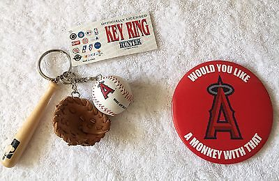 Anaheim Angels  Pin Back Button & Key ring w/bat/ball/glove NWT