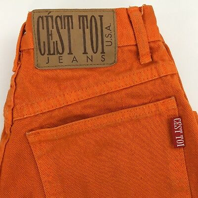 "Orange Jean Shorts Vtg 90s Small Cést Toi USA Women's 23"" High Waist USA"