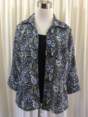 Women S Notations Blouse Top Small Black Blue White 3 4 Sleeve 2 Fer