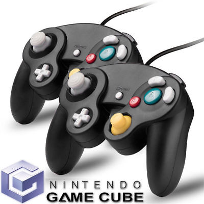2 x Black Wired Controller For Classic GameCube GC & Wii Console Classic Joypad