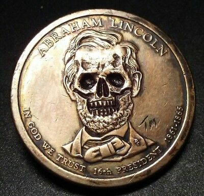 Evil Abe Lincoln Hobo Nickel Skull First Carve of 2018