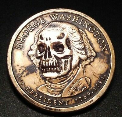Gory Georgie Skull Hobo Nickel Carving 100% Awesome