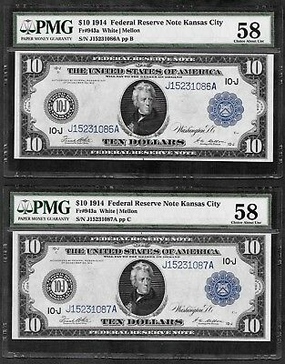 (2) Consecutive S/n 1914 $10 Frn ♚♚ Kansas City ♚♚ Pmg Ch About Unc 58