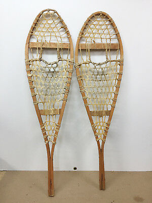 """Antique Vintage Indian Made Snowshoes 12"""" X 42"""" For Decor Or Arts And Craft"""