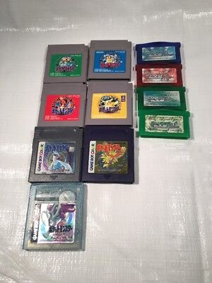 Lot of 11 POKEMON Set Game Boy Advance Green Crystal Emerald Leaf Ruby Gold etc