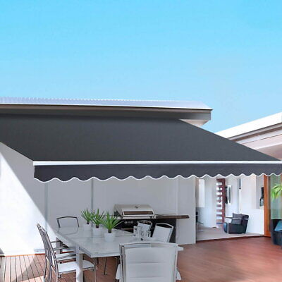 4M x 3M Outdoor Folding Arm Awning Retractable Sunshade Canopy Shade Sail Grey