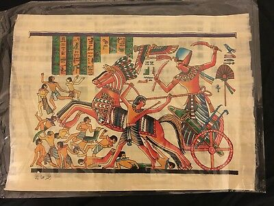 Handmade Egyptian Papyrus -17x12 IN- Ahmose on a military wheel fighting Hyksos