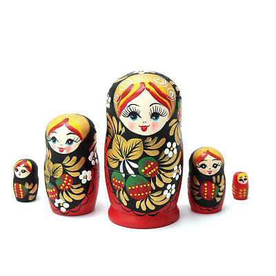 5Pcs/set Wooden Dolls Matryoshka Nesting Russian Babushka Toys Gift Strawberry