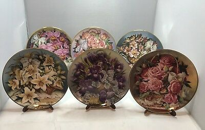 Set of 6 Flower Collector Plates Katherine Austen Limited Edition Franklin Mint