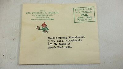 1930s Rare Wrigley's Gum Mailer Original Package Letter Envelope Candy Logo Mail
