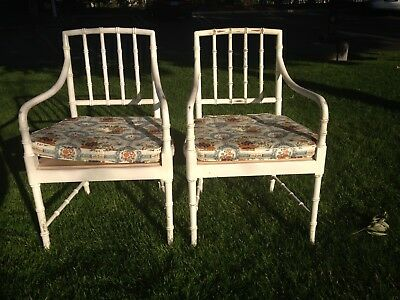 Pair of Chairs Set Dining Bamboo Boho Chinese Chippendale Lounge Chic Regency