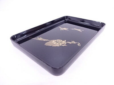 74798# Japanese Tea Ceremony / Lacquered Tray / Crane & Turtle / Gold Inaly