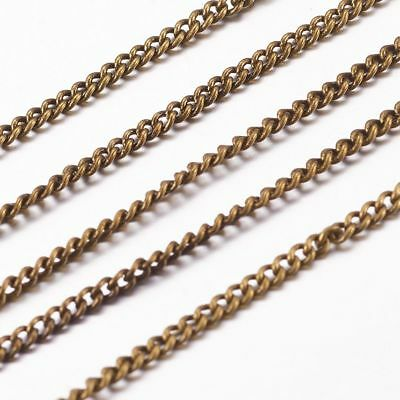 10.9yds Antique Bronze Brass Twisted Curb Chain Oval Link Nickel Free 2x1x0.35mm