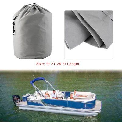 21-24ft 600D Heavy Duty Waterproof Fabric Trailerable Pontoon Boat Cover Gray &