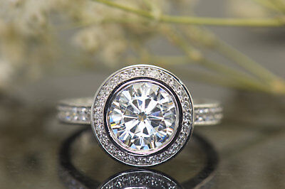 2Ct Round Moissanite 14K White Gold Ring Solitaire Engagement Women's Ring2