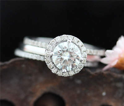 2Ct Round Moissanite 14K White Gold Ring Solitaire Engagement Women's Ring15