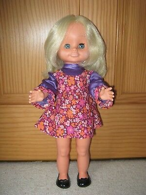 """vintage 1970s TALKING WALKING DOLL 18""""  BLOND HAIR in original clothes and shoes"""