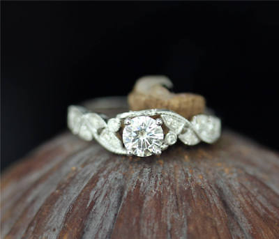 2Ct Round Moissanite 14K White Gold Ring Solitaire Engagement Women's Ring18